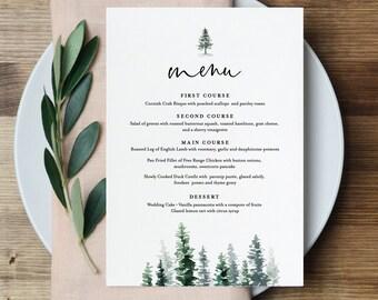Menu Template, Rustic Pine Tree Wedding Menu Card, Printable Evergreen Dinner Menu, INSTANT DOWNLOAD, Editable Text, 5x7 & 3.65x9 #073-136WM
