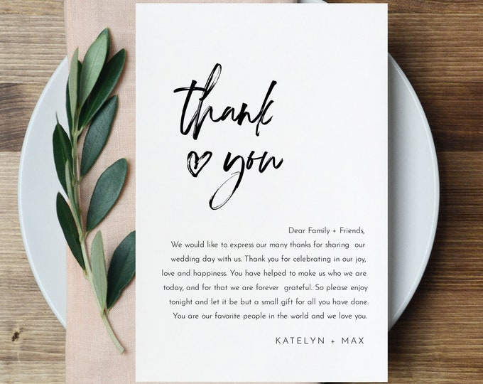 Minimalist Thank You Letter, Napkin Note, Printable Wedding Menu Thank You, Editable Template, INSTANT DOWNLOAD, Templett, 4x6 #090-129TYN