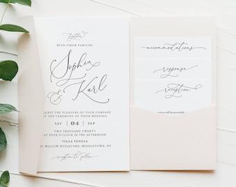 Pocket Wedding Invitation Set, Romantic Script Invite & Enclosure Cards, Calligraphy, Instant Download, Editable Template, Templett #092PF