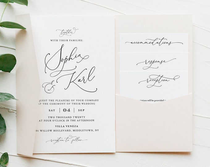 Pocket Wedding Invitation Set, Romantic Script Invite & Enclosure Cards, Calligraphy, Instant Download, Editable Template, Templett #092PF