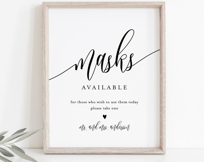 Masks Available Sign, Mask Wedding Sign, Social Distance, Editable Tabletop Sign, Printable, Instant Download, Templett, 8x10 #008-22S