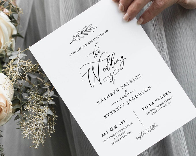 Minimalist Wedding Invitation Set Template, INSTANT DOWNLOAD, 100% Editable, Calligraphy Invite, RSVP & Detail, Printable, Templett #003A