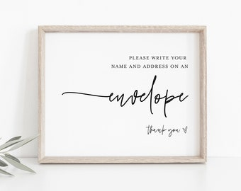 Write Your Address on Envelope Sign, Minimalist Bridal / Baby Shower, 100% Editable Template, Instant Download, Templett  #0009-21S