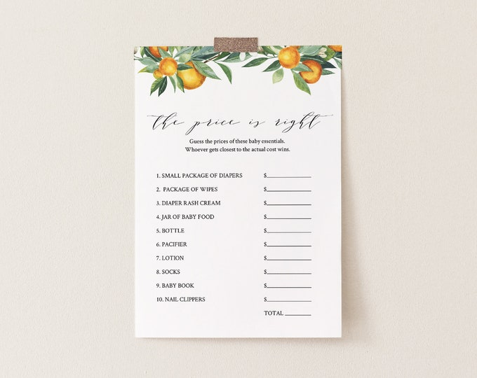 The Price Is Right Baby Shower Game Template, Summer Citrus Orange, 100% Editable Text, Instant Download, Printable, Templett #084-141BASG