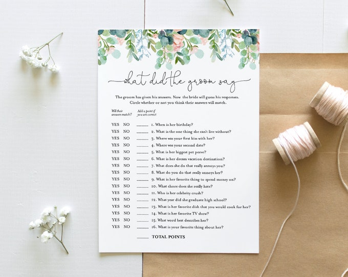 What Did the Groom Say, Bridal Shower Game, Printable Lush Garden Bridal Game, Editable Template, Instant Download, Templett 5x7 #068A-289BG