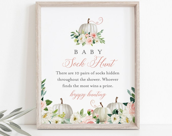 Baby Sock Hunt Game, Fall Pumpkin Baby Shower Game, Sock Hunt Sign, Editable Template, Printable, Instant Download, Templett #072B-240BASG