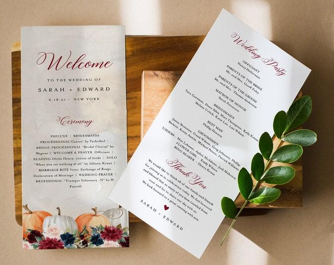 Pumpkin Wedding Program Template, Rustic Fall Order of Service, 100% Editable Text, Printable, Instant Download, Templett #072A-253WP