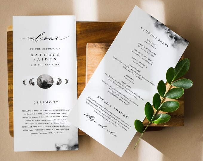 Celestial Wedding Program Template, Instant Download, Full Moon Wedding Order of Service, 100% Editable Text, Templett #0003-254WP