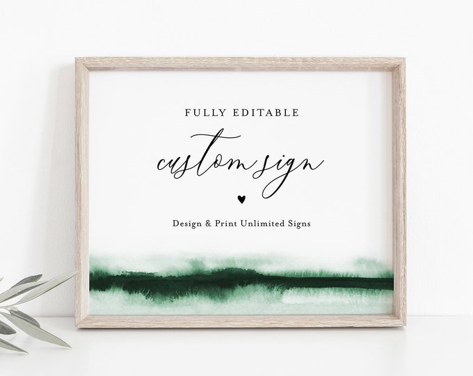 Watercolor Custom Wedding Sign Template, Editable Bridal Shower Sign, Create Any Sign Unlimited Times, INSTANT DOWNLOAD, Templett 093C-157CS