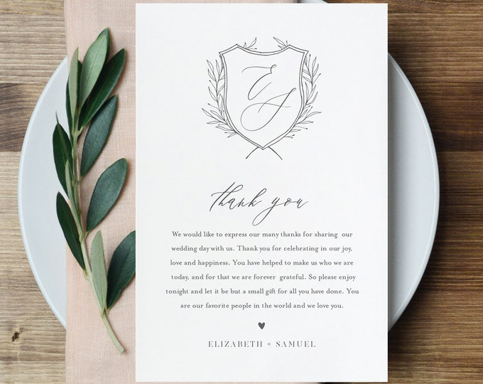 Thank You Letter Template, Wedding Crest Thank You Note, Instant Download, Printable In Lieu of Favor Card, Templett, 4x6 #0007-151TYN