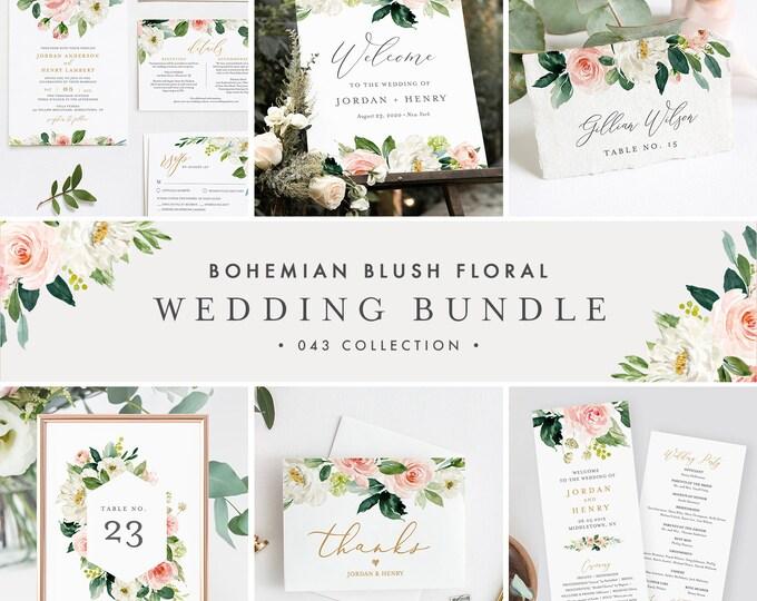 Wedding Bundle, Boho Blush Floral & Greenery Invitation Suite, Editable Templates, DIY, Instant Download, Templett #043-BUNDLE