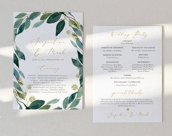 Fan or Flat Wedding Program Template, INSTANT DOWNLOAD, Printable Order of Service, 100% Editable, Watercolor Greenery, DIY #044-408WP