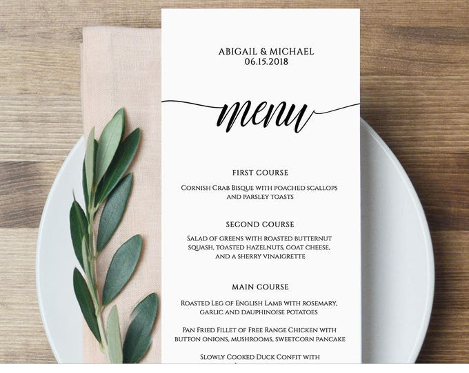 Menu Card Template, Rustic Dinner Menu, Wedding Menu Card Printable, Fully Editable Template, Instant Download, DIY, Templett #020-101WM