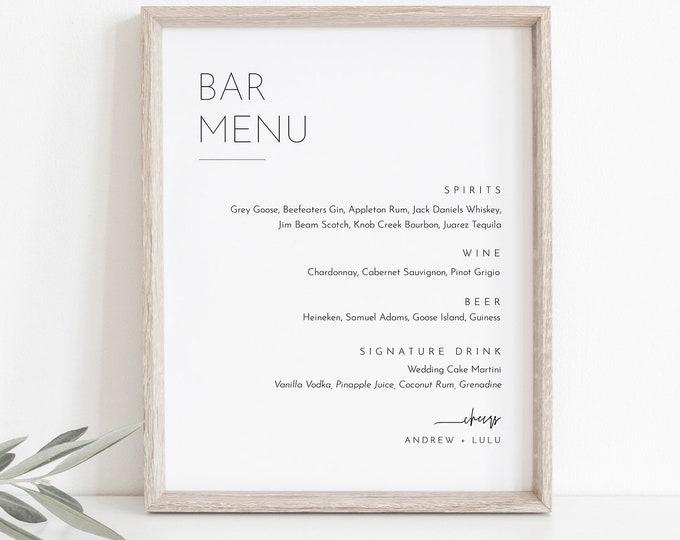 Minimalist Bar Menu Sign, Printable Wedding Bar Menu, Alcohol Drinks Menu, 100% Editable Template, Instant Download, Templett #094-101BM