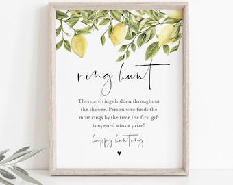 Ring Hunt Bridal Shower Game, Ring Game, Summer Bridal Shower Printable, Citrus Lemon, Editable, Instant Download, Templett #089-211BG