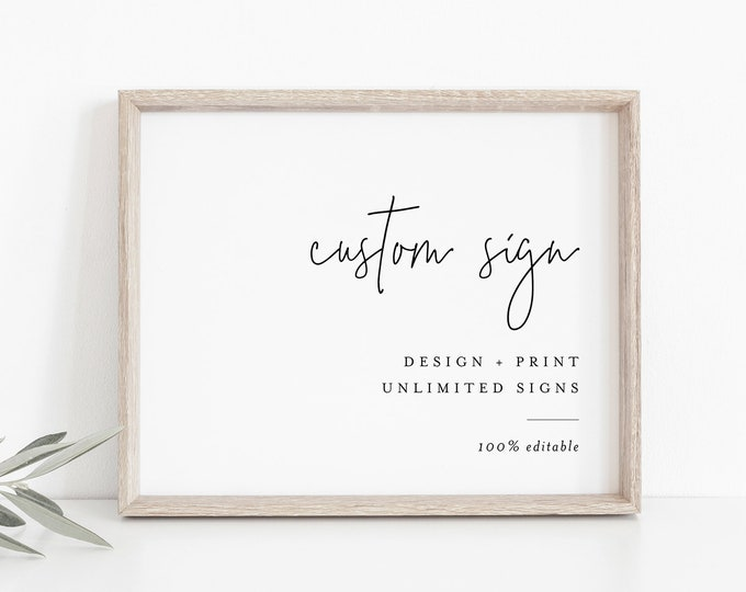 Minimalist Custom Sign Template, Modern Simple Wedding or Bridal Shower Table Sign, Create Any Sign, INSTANT DOWNLOAD, Templett #095A-175CS