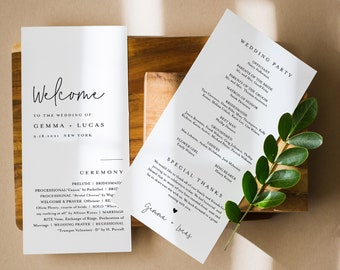 Minimalist Wedding Program Template, Modern Simple Order of Service, Editable, Printable Program, Instant Download, Templett #95A-251WP