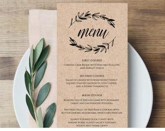 Rustic Wedding Menu Template, Printable Menu Card, Editable Template, Instant Download, DIY Wedding Reception Menu, Templett  #023-113WM