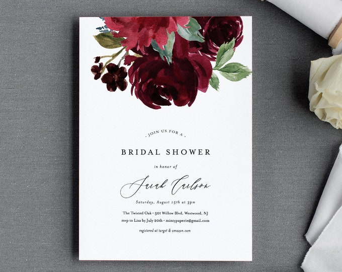 Bridal Shower Invitation Template, Couples Shower Invite, Red & Burgundy Watercolor Florals, INSTANT DOWNLOAD, 100% Editable Text #062-167BS