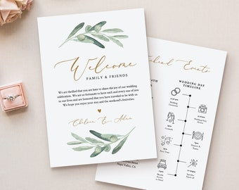 Welcome Bag Letter & Timeline Template, Printable Wedding Order of Events, Editable Itinerary, INSTANT DOWNLOAD, Olive Greenery #081-126WB