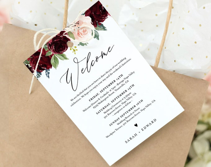 Welcome Bag Tag, Boho Burgundy Floral Welcome Letter & Itinerary Template, Printable Order of Events, INSTANT DOWNLOAD, Templett #062-106WBT