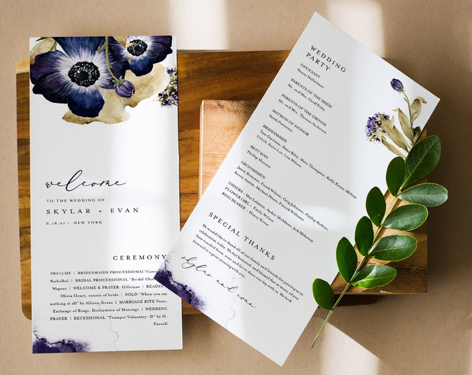 Wedding Program Template, Purple Blue Anemone Florals, Order of Service, Editable, Printable Program, Instant Download, Templett #0014-252WP
