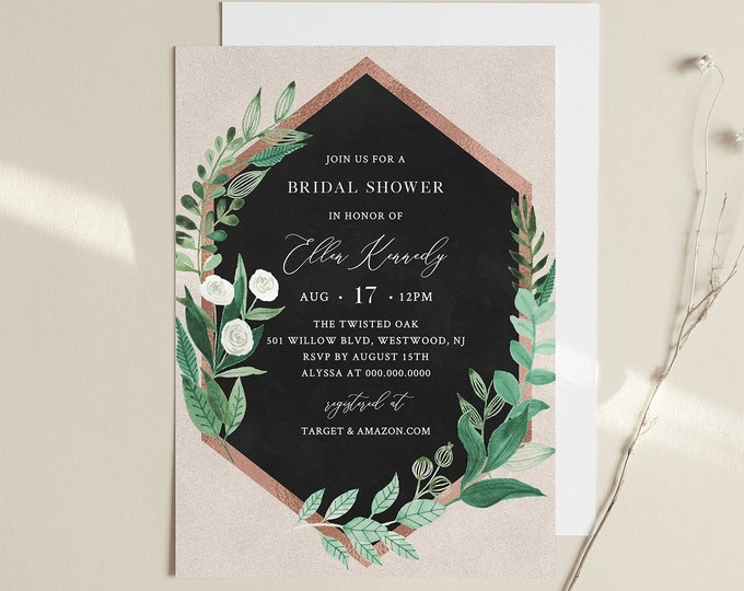 Bridal Shower Invite, Greenery & Rose Gold, Garden Wedding Shower Invitation Template, 100% Editable Text, Instant Download #080-229BS