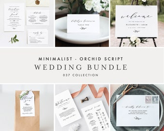 Minimalist Wedding Bundle, Classic Wedding Essential Templates, Invitation Suite, 100% Editable Text, Instant Download, Templett #037-BUNDLE
