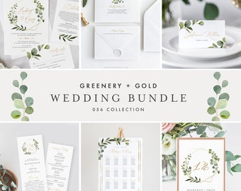 Greenery & Gold Wedding Bundle, Wedding Essential Templates, Invitation Suite, 100% Editable Text, Instant Download, Templett #056-BUNDLE