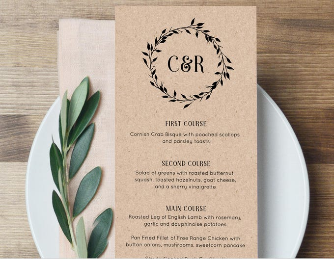 Wedding Menu Card Template, Dinner Menu Printable, Rustic Wreath Monogram Menu Card, Instant Download, 100% Editable, Templett #010-102WM