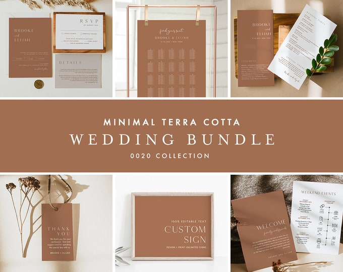 Wedding Bundle, Minimal Terracotta Wedding Essential Templates, Invitation Suite, Editable Text, Instant Download, Templett #0020-BUNDLE