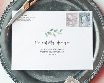 Envelope Template, Delicate Succulent and Greenery Wedding Address Printable, Instant Download, Editable, Templett, A1, A7 Sizes #075-126EN