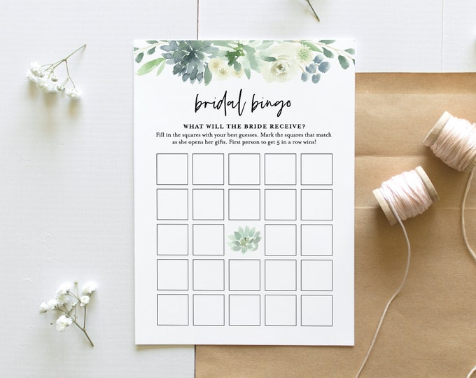 Bridal Bingo Game Printable, Instant Download, Succulent Bridal Shower Game, Personalize Bride's Name, Editable Template  #075-166BG