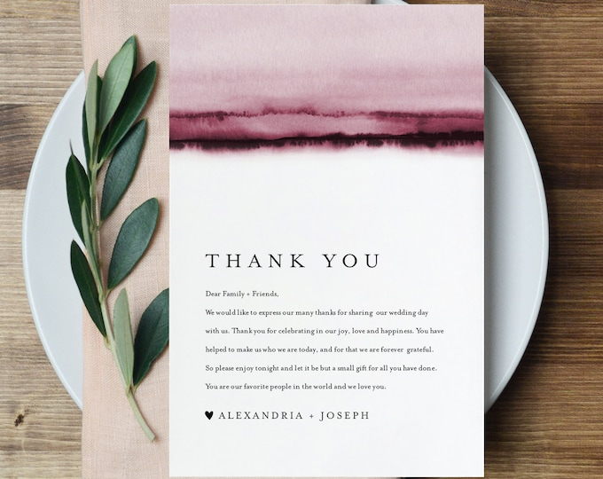 Thank You Letter, Burgundy Watercolor, Napkin Note, Printable Menu Thank You, Editable Template, Instant Download, Templett 4x6 #093B-137TYN