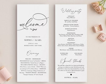 Calligraphy Wedding Program Template, Minimalist Order of Service, Instant Download, Printable, 100% Editable Text, DIY, Templett #092-230WP