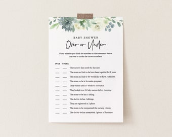 Baby Over or Under Game, Succulent Baby Shower Game Template, 100% Editable Text, Printable, Instant Download, Templett, DIY #075-141BG