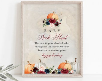 Baby Sock Hunt Game, Fall Pumkin Baby Shower Game, Sock Hunt Sign, Editable Template, Printable, Instant Download, Templett #072A-214BASG