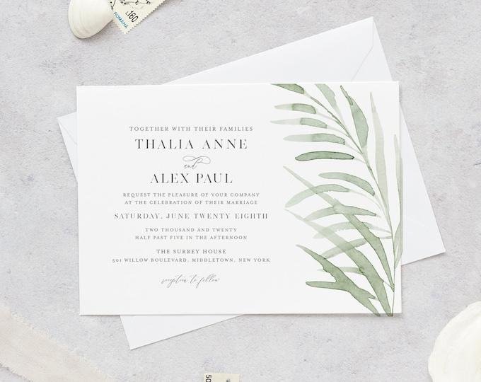 Delicate Grass Wedding Invitation, Whisper Greenery Wedding Invite, Beach Grass, Editable Template, Instant Download, Templett #0004D