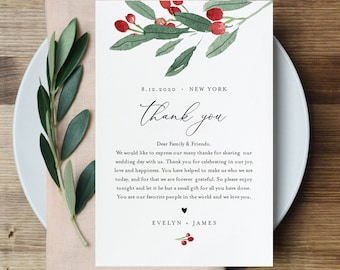 Holly Thank You Letter, Napkin Note, Printable Winter Wedding Menu Thank You, Editable Template, INSTANT DOWNLOAD, Templett, 4x6 #071-120TYN