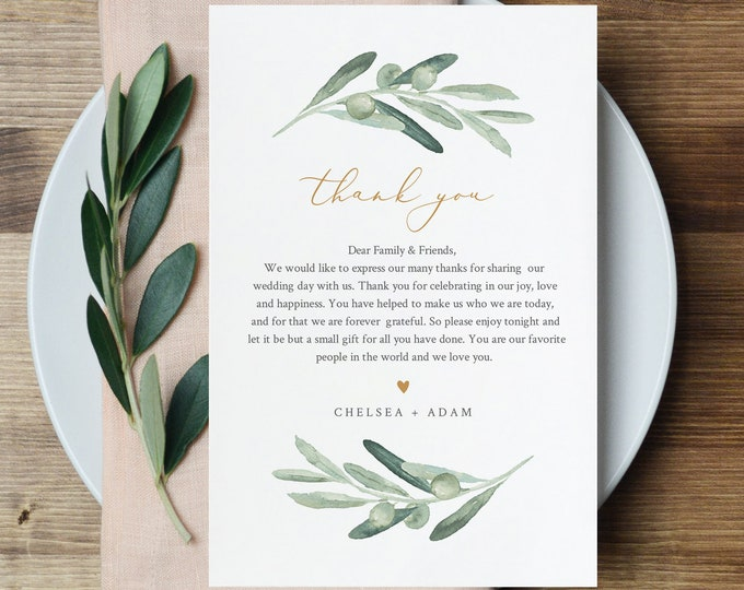Olive Greenery Thank You Letter, Napkin Note, Printable Wedding Menu Thank You, Editable Template, Instant Download, Templett #081-144TYN