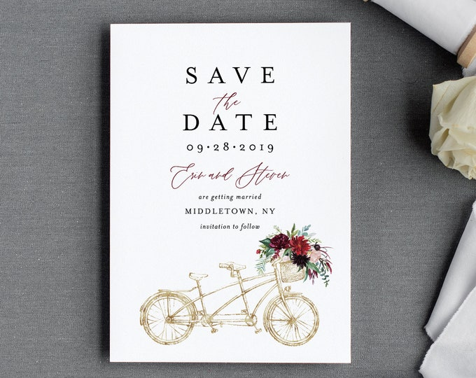 Bicycle Save the Date Template, Printable Boho Tandem Bike Wedding Date Card, Instant Download, 100% Editable Text, Templett, DIY #062-145SD
