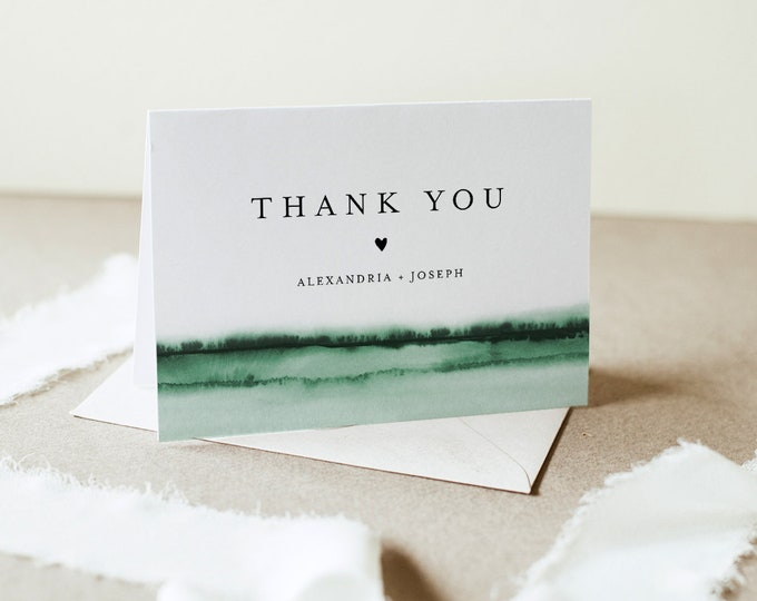 Watercolor Thank You Folded Card Printable, Emerald Wedding / Bridal Shower Note, Editable Template, INSTANT DOWNLOAD, Templett 093C-150TYC