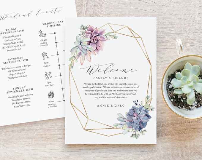 Welcome Bag Letter & Timeline Template, Instant Download, Succulent and Gold, 100% Editable, Welcome Note, Wedding Itinerary, DIY #041-114WB