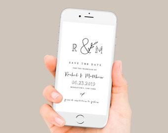 Rustic Save the Date, Minimalist Wedding Electronic Invitation, Evite, Digital, Text Invite, Editable, Templett, Instant Download 042-108SDD