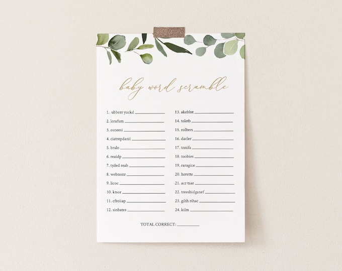 Baby Word Scramble Game, Printable Baby Word Puzzle, Greenery & Gold Baby Shower, Editable Template, INSTANT DOWNLOAD, Templett #056-119BASG