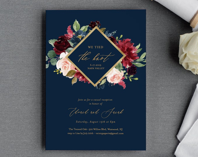 Elopement Invitation Template, Tied the Knot, We Eloped Printable, INSTANT DOWNLOAD, Reception Party, 100% Editable Text, DIY #062-116EL