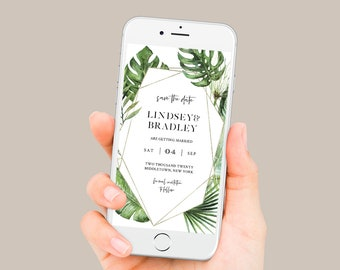 Tropical Save the Date, Electronic Invitation, Evite, Digital, Text Invite, INSTANT DOWNLOAD, 100% Editable Text, Templett #083-112SDD