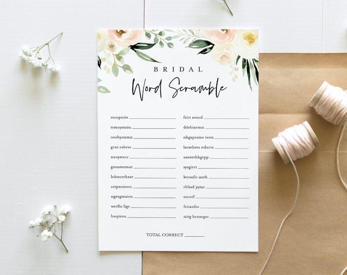 Bridal Word Scramble, Peach Floral Bridal Shower Game, Printable Bridal Puzzle, Instant Download, Editable Template, Templett #076-184BG
