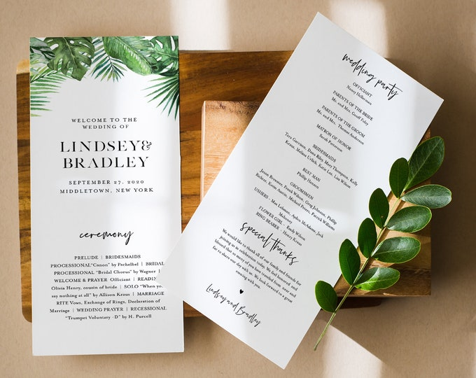 Tropical Wedding Program Template, Order of Service, Destination Beach Wedding, Instant Download, Editable, Printable, Templett #083-240WP