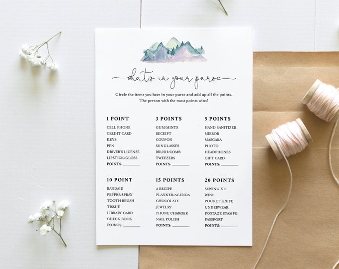 What's In Your Purse Bridal Shower, Winter Mountain Bridal Shower Game Template, 100% Editable Text, Instant Download, Templett #063-266BG